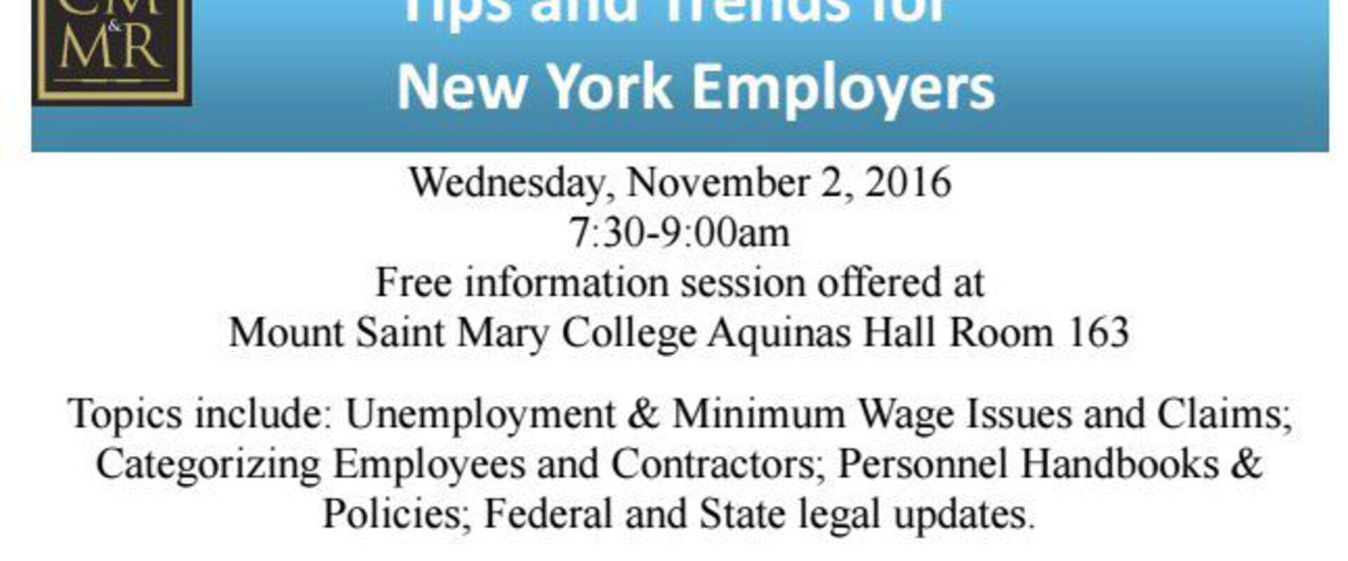 Tips and Trends for New York Employers on November 2, 2016